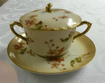 Limoges Tea Cup and Saucer; A Covered Limoges Bouillon Set by (CFH-GDM) circa 1891-1900    #DSC