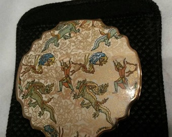 ON SALE- Stratton Powder Compact; Petite; Featuring A Persian Legends Design Of Dragons And Warriors circa 1950's-1970's   DR234