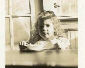 "Vintage Photo ""Strawberry Ice Cream for Breakfast"" Snapshot Antique Photo Black & White Photograph Found Paper Ephemera Vernacular - 188"