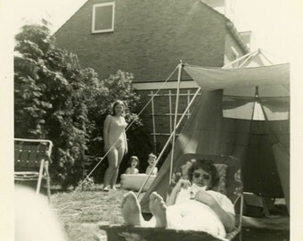 "Vintage Photo ""The Lazy Backyard Mother"" Snapshot Antique Photo Black & White Photograph Found Paper Ephemera Vernacular - 112"