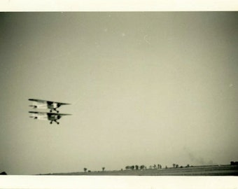 "Vintage Photo ""Seeing Double"" Airplane Snapshot Photo Old Antique Photo Black & White Photograph Found Photo Paper Ephemera Vernacular - 196"