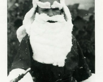 "Vintage Photo ""Sleepy Santa"" Boy Christmas Costume Snapshot Old Antique Photo Black & White Photograph Found Paper Ephemera Vernacular - 35"