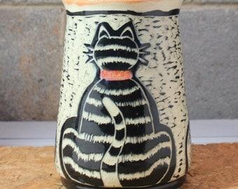 Cat Kitchen Utensil Holder, MADE PER ORDER, in Orange, Black and White