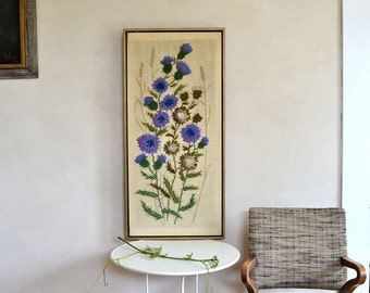 Vintage Crewel Embroidery Wall Hanging Thistles & Wheat Large Size