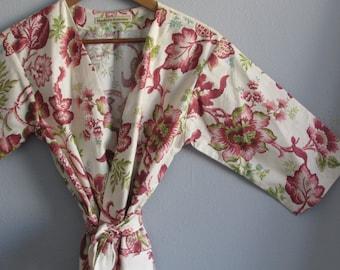 Kimono Robe. Bridesmaid Robes. Kimono. Dressing Gown. Bathrobe. Modern Pink Floral. KNEE and MID CALF Length. Small thru Plus Size 2XL.