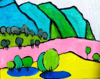 Framed original painting of Colorado landscape, art landscape, abstract landscape painting, original painting, acrylic painting, landscape