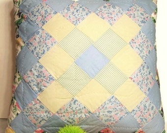 Vintage Quilted Patchwork Decorative Accent Pillow, 16 Inch Square ... Florals, Solids, Gingham ... Cottage Chic Blue Yellow Pink Green