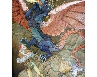 Dragon Greeting Card - Bee Man Saves Baby - Repro Frederick Richardson - Vintage Style Notecard