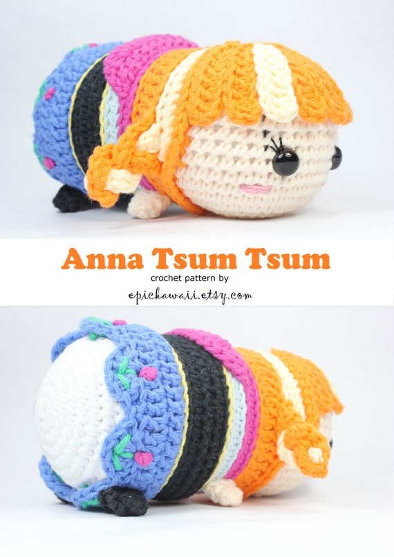 Amigurumi Tsum Tsum Free Pattern : PATTERN: Anna Tsum Tsum Crochet Amigurumi Doll
