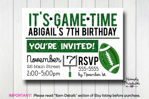 Girls Football Invitation, Sport Invite for Girls, Printable Printed, Glitter, Green & White Football Party
