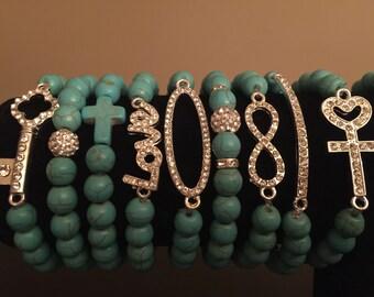 Turqoise and rhinestone bracelets mix and match