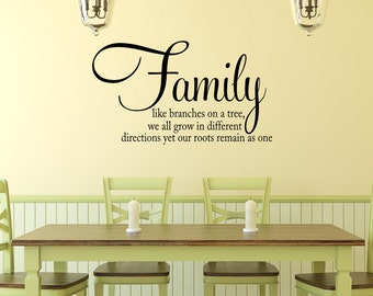 Family Saying Wall Decal Family Wall Quote Vinyl Wall Saying like branches on a tree Wall Decal