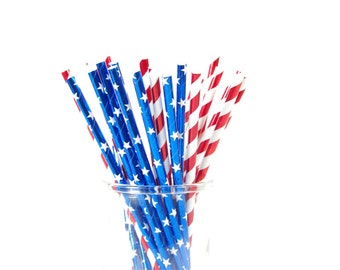 Stars and Stripes Paper Straws - Patriotic Paper Straws - Set of 25