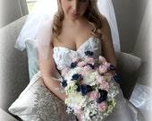 Navy Chic Bridal Bouquet - White Hydrangea Cream and Navy Roses Pink Carnations Alyssum Wild flowers pearls Garden Nautical