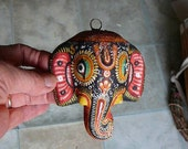 vintage paper mache Ganesh colorful elephant head wall hanging mask home altar supplies hindu god