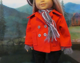 Pea Coat, Knit Hat, Gloves,  Scarf, 18 inch  Doll Clothes, Doll Coat