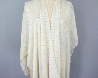1920s White Beaded Silk Fabric