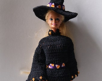 Crocheted Barbie Halloween Witch Costume