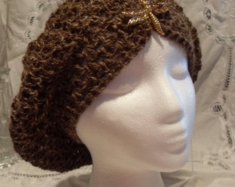 Dragonfly Slouchy Beret in Natural Brown Alpaca