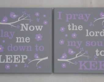 Bedtime Prayer Sign - Now I Lay Me Down to Sleep / I Pray the Lord My Soul to Keep (2 Signs) - Painted Purple / Gray - Baby Nursery Wall Art