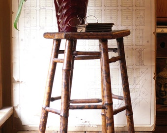 Vintage Bamboo Side Table with Woven Raffia Top - Great Cottage Decor!