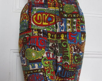60's Vintage Psychedelic Pop Art Swim Trunks Shorts Sm