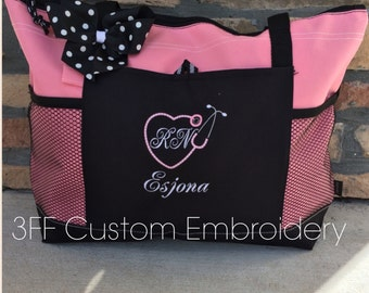 Personalized NURSE/DOCTOR Initial Heart Stethoscope Select Tote