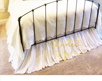 Full Size Gathered Dust Ruffle Bed Skirt 3x Fullness Natural Tan Color Osnaburg Fabric Shabby Chic  Beach