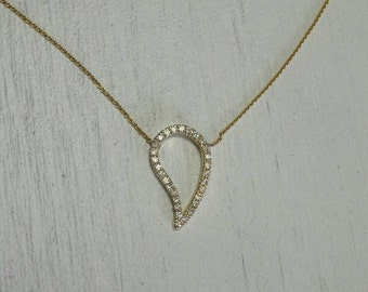 Paisley gold and diamond pendant, gold chain, gold necklace, diamond necklace, Paisley diamond necklace, 14k gold chain and diamond pendant