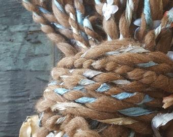 Pretty Flora Yarn Natural Fawn Alpaca Bulky Silk Ribbon Handspun thick n thin Wool soft knitting supplies Wool crochet supplies fiber arts