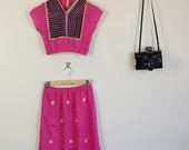 Vintage Pink Indian Crop Top and Matching Skirt Cute Festival 80s Hippy