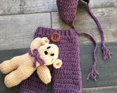 Newborn Knit Pants, Bonnet and Teddy Set Photography Prop Shower Gift in Plum