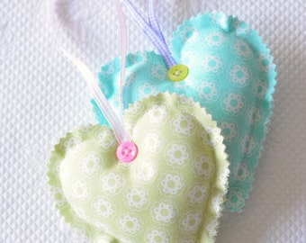 Pastel Green Fabric Heart Ornament Easter Shabby Chic Small Flowers europeanstreetteam