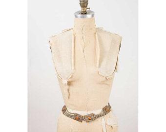 Vintage chain belt / 1960s hammered silver hippie belt S