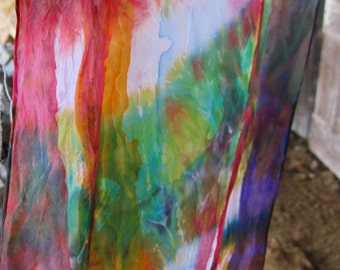 SAMPLE SALE  - Shibori Hand Painted - Short Rainbow - in Habotai Silk - Can be sewn in Ring as Circle and used to tie hair as Bandana