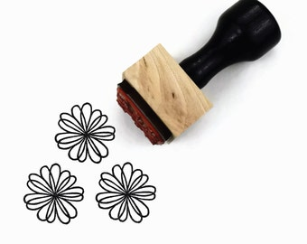 Rubber Stamp In The Loop Flower - Doodle Drawing Hand Drawn Flower Stamp
