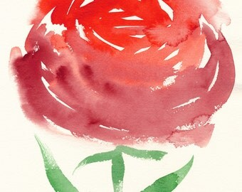 Red Ranunculus. An original floral watercolor painting.