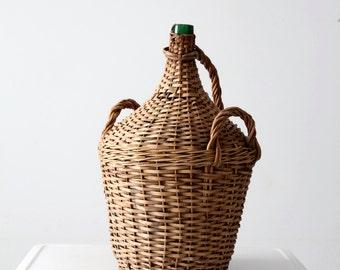 vintage demijohn, woven wine bottle