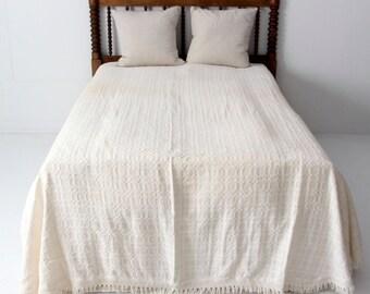 vintage matelasse bedspread, cream cotton blanket