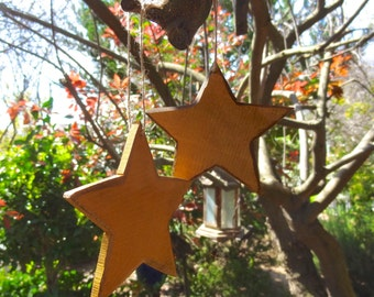 "Handmade Wooden Yellow 4.5"" Star for Outdoor Garden Decorative and Home Decor"