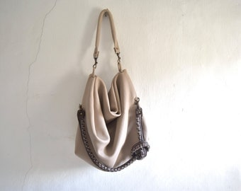 SALE Slouchy Hobo Tote in Bone Ecru or Dark Brown - Double Strap Detail - Ready to Ship