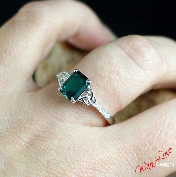 Emerald Amp Diamond Celtic Knot Engagement Ring 2ct 8x6mm Custom