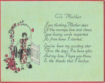 Mother Dear- 1920s Antique Card- Mother's Day Decor- Roaring 20s- Flapper Mama- Guiding Star- Paper Ephemera- Unused