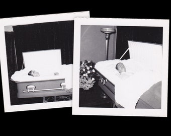 Laid To Rest- 1950s Vintage Photographs- SET of 2- Post Mortem Photo- Dead Woman in Coffin- Open Casket- Funeral Snapshots- Paper Ephemera
