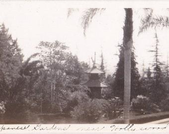 Japanese Gardens- 1940s Vintage Photograph- Hollywood, California- Tourist Snapshot- Found Photo- Garden Pagoda- Paper Ephemera
