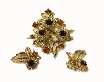 Vintage Demi-Parure Brooch and Earrings 1950s