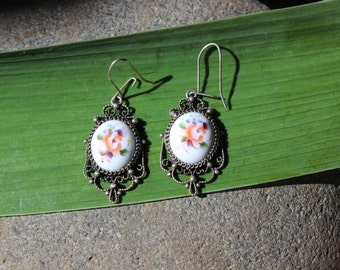 Russian Enamel Earrings Silver Vintage Finift