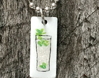 Hand Painted Mojito Stainless Steel Charm on Bracelet