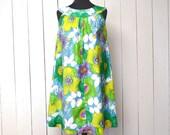 Floral Tent Dress Mod Summer Sun Dress 1960s Vintage Bright Hippie Cover Up Dress Medium