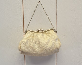 Silver Metallic Handbag 1950s Vintage Mini Kiss Clasp Mid Century Chain Strap Wedding Purse